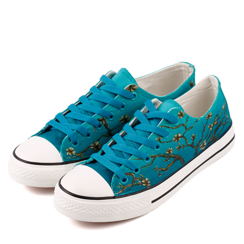 E-LOV Luxurious Artwork The Almond Hand Painted Canvas Shoes Casual Style Lace-up Walking Shoe Plus Size Free Shipping e lov japanese fresh style watermelon pattern women hand painted casual shoes painting platform shoes canvas shoes personalized