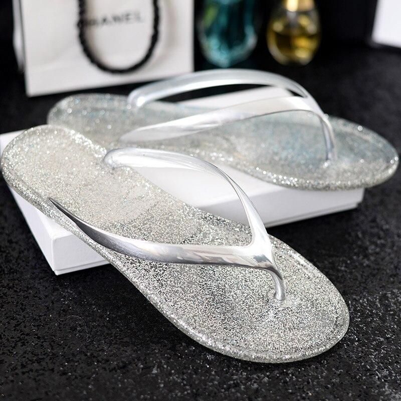 2018 New Summer Women's Sandals Open Toe New Shoes Woman Flip Flops Blue/Sliver/Gold/Pink Jelly Sandals 2018 new woman summer sandals open toe