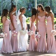 Blush Pink Mermaid Dresses Bridesmaid 2018 Strapless Sleeveless Floor  Length Elastic Satin Wedding Guest Dress Cheap f61ec172eef3