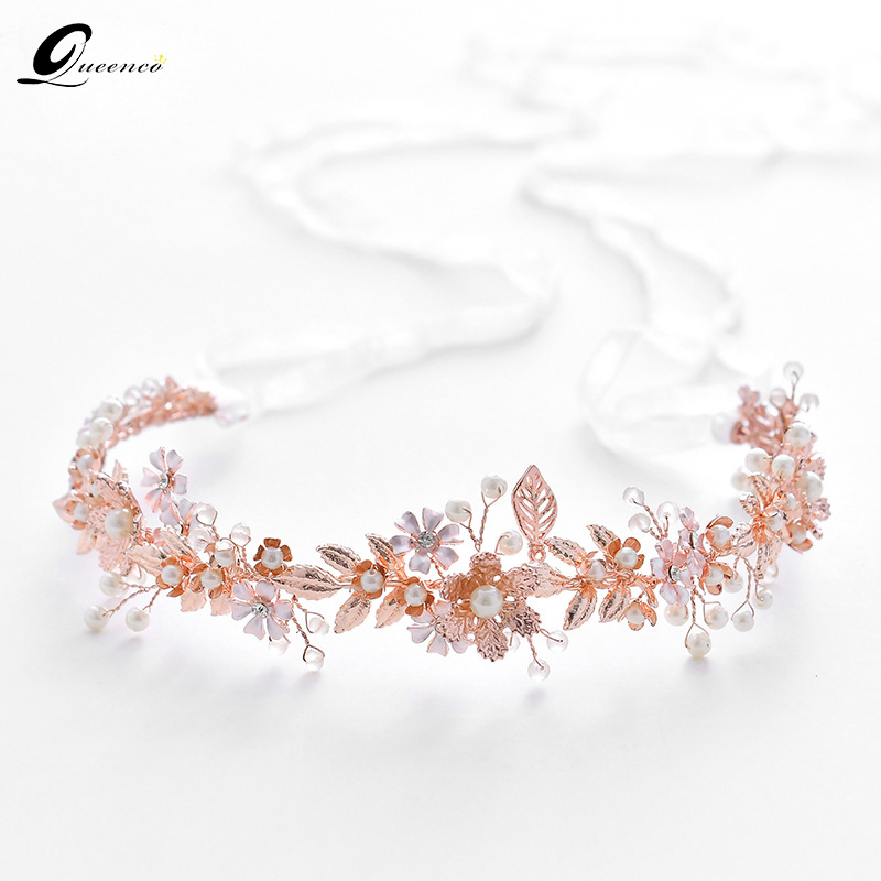 Rose Gold Leaves Floral Tiara Bridal Headbands Crown Pearl Hair Accessories Wedding Headpiece Trendy Girl's Party Headdress Gift fashion bridal veils party wedding hair accessories flower girls bridesmaid hair band floral lace veil headdress free shipping