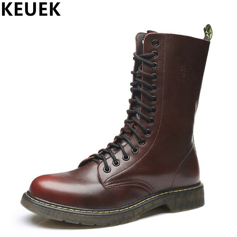 Plus size Autumn Winter Men Martin boots Genuine leather Vintage Mid-Calf Motorcycle boots Wear-resistant Male shoes 033 men shoes martin boots genuine leather male fashion casual shoe to help the high wear water resistant tooling boots