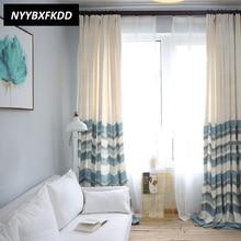 Μπλε λωρίδες σκίασης Faux Linen Μοντέρνες Κουρτίνες για Καθιστικό Καναπέ Window Τάπη Θεραπείες
