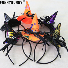 FUNNYBUNNY Halloween Colorful Witch Hat Headband Fashion Costume Dress up Accessories Party decoration Supplies