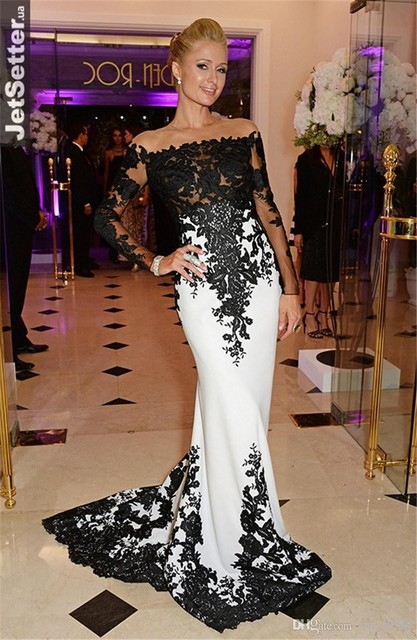 Negro encaje y satén blanco Paris Hilton Celebrity vestir de manga larga noche de la sirena vestidos de alta costura elegante Longue Robe Soiree