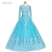 Blue Vestido De Noiva 2017 Muslim Wedding Dresses Ball Gown Long Sleeves Tulle Lace Appliques Boho