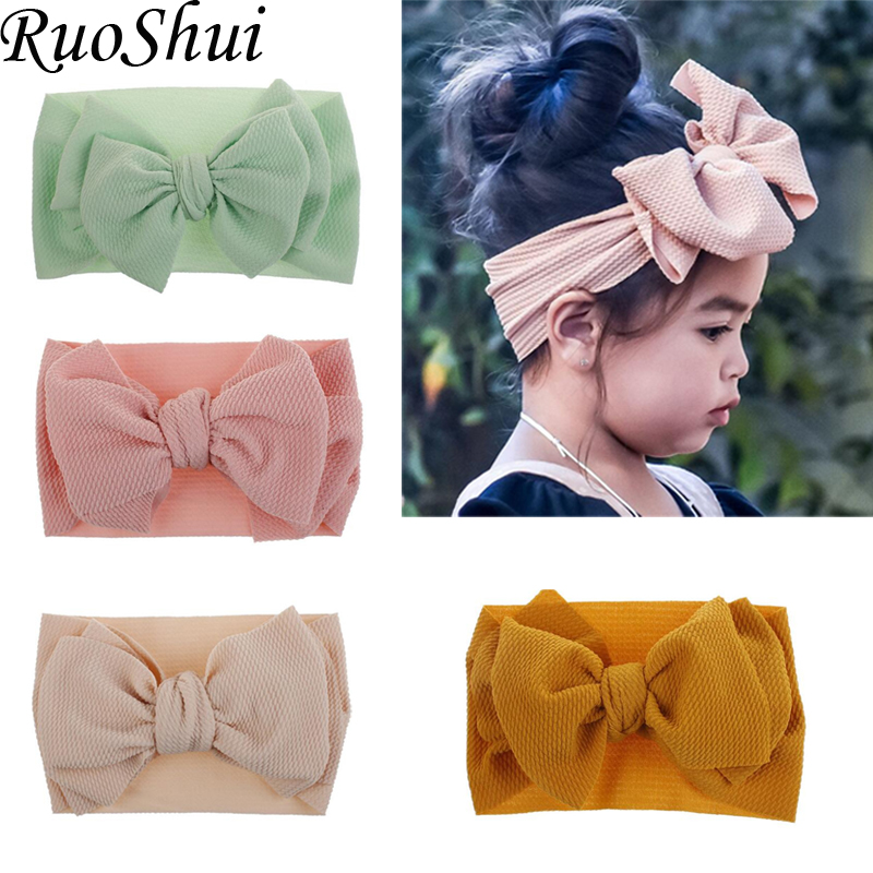 2019 Unisex Newborn Lovely Bow Candy Color Fish Scale Patter Elastic Headband Kids Baby Cute Soft Comfortable Hair Accessories