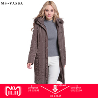 MS VASSA Ladies Parkas Winter 2018 New long Jackets Women Autumn classic coats detachable hood with fake fake plus size 6XL