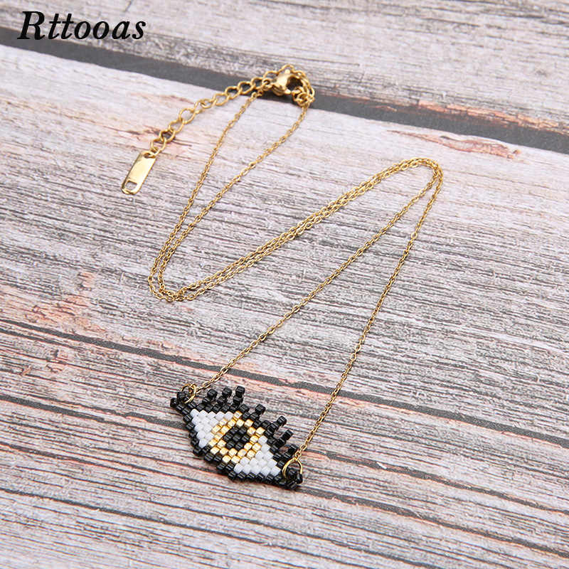 Rttooas Evil Eye Lucky Necklace Handmade Woven MIYUKI Beads Pendant Necklace Summer Clothing Accessories Jewelry