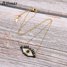 Rttooas Evil Eye Lucky Necklace Handmade Woven MIYUKI Beads Pendant Summer Clothing Accessories Jewelry