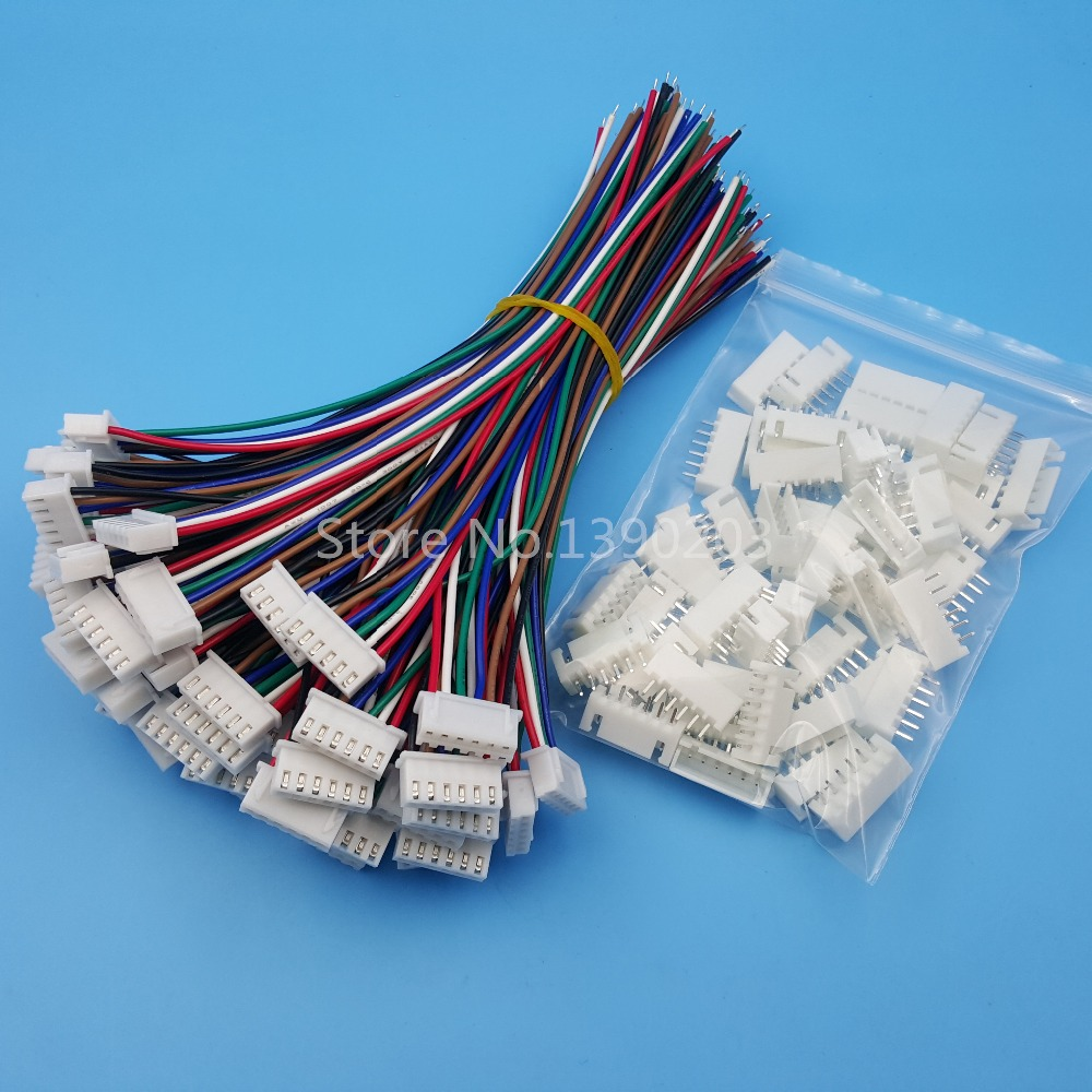 50Sets XH Pitch 2.54mm 6Pin 6Wires Single-Head Wire To Board Connector 15cm 24AWG With Socket 2 0mm pitch ph connector plug socket plastic shell wire to board pcb weld plate 2p3p4p5p6p7p8p9p10p11p12p13p14p15p16p