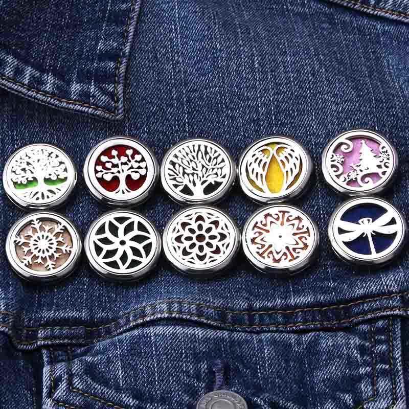 10 รูปแบบคุณภาพเงินสแตนเลส Aroma เข็มกลัด Badge น้ำมันหอมระเหยน้ำมันหอมระเหย Diffuser Locket เครื่องประดับเข็มกลัด