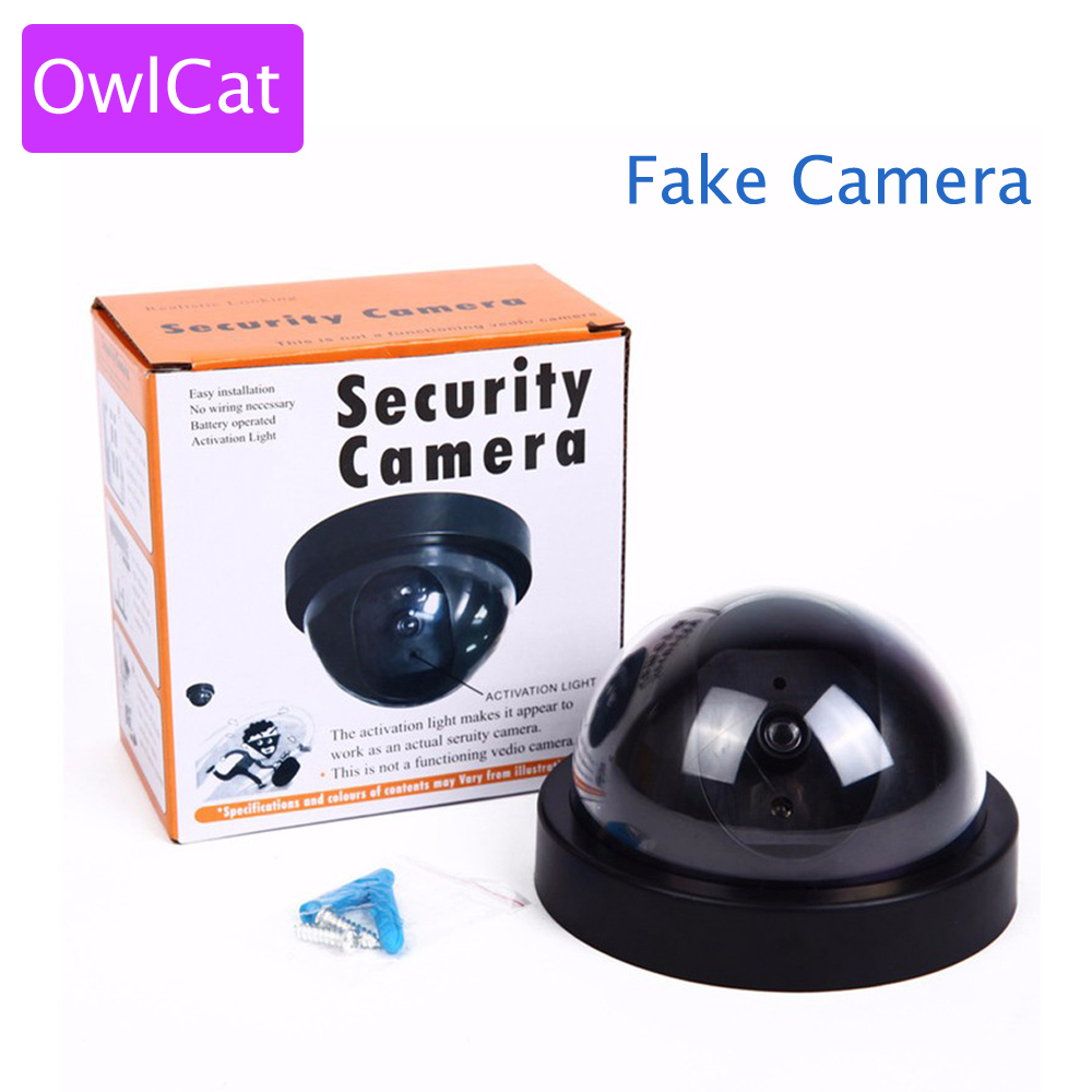 OwlCat Emulational Dummy Surveillance Camera Fake Camera Security CCTV videcam Wireless Indoor Dome kamepa with Blinking IR LED