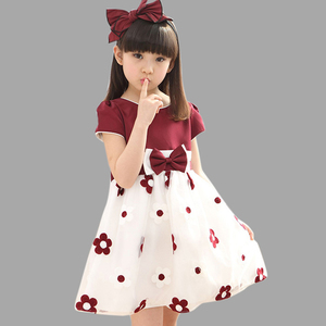 Floral Dress For Girls 2020 Summer Mesh Girls Dress Bow Kids Clothes Children's Dress Spring Teen Girls Clothing 6 8 12 Years(China)