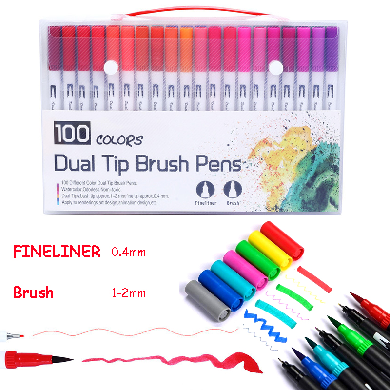 100 PCS Colors Dual Tip Brush Pen FineLiner and Brush Drawing Painting Watercolor Art Marker Pens for Coloring Manga Calligraphy100 PCS Colors Dual Tip Brush Pen FineLiner and Brush Drawing Painting Watercolor Art Marker Pens for Coloring Manga Calligraphy