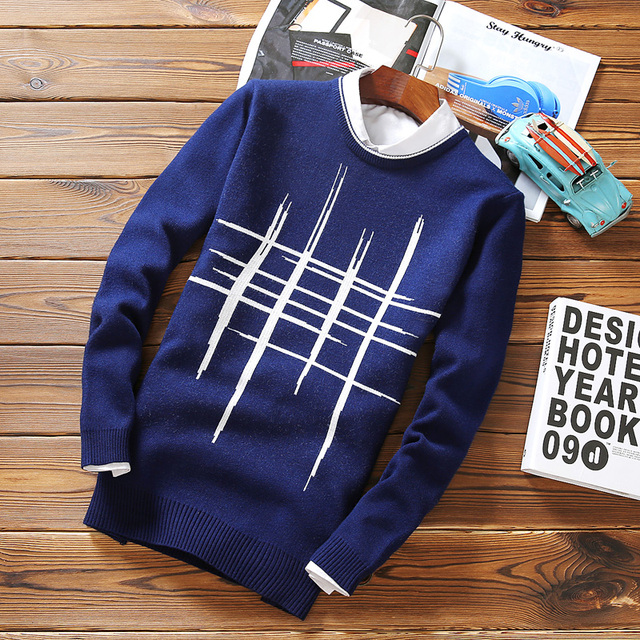 Geometric Mens Sweaters Pullover Blue O-Neck Winter Wool Sweater Pullovers Casual Regular Standard Brand Sweater Sweaters