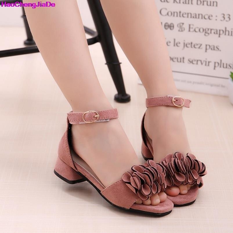 Hot Sale New Fashion Children Sandals Kids Girls Suede Flowers Sandals Summer Boys Girl Pink Red Black Sandals Shoes Size 27-36