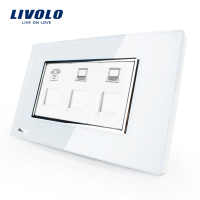US AU Standard Livolo Luxury TEL COM COM Socket With White Pearl Crystal Glass VL C391TCC