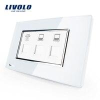 US AU Standard Livolo Luxury TEL COM COM Socket With White Pearl Crystal Glass VL C391TCC