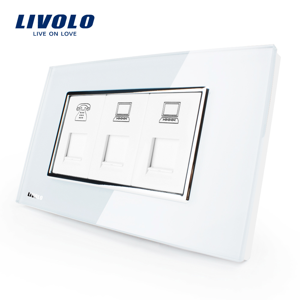Livolo US/AU Standard Luxury TEL+COM+COM Socket With White Pearl Crystal Glass VL-C391TCC-81/82