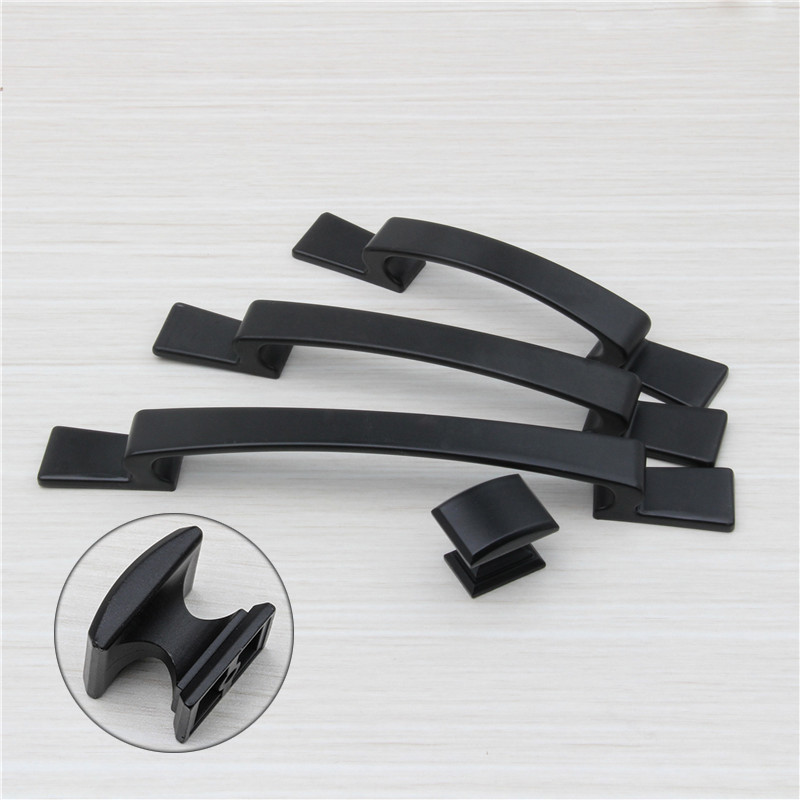 4Sizes Zinc Alloy Black Simple Door Handles For  Kitchen Shoe Cabinet Wardrobe Cupboard Drawer Pull Knobs Locker Closet