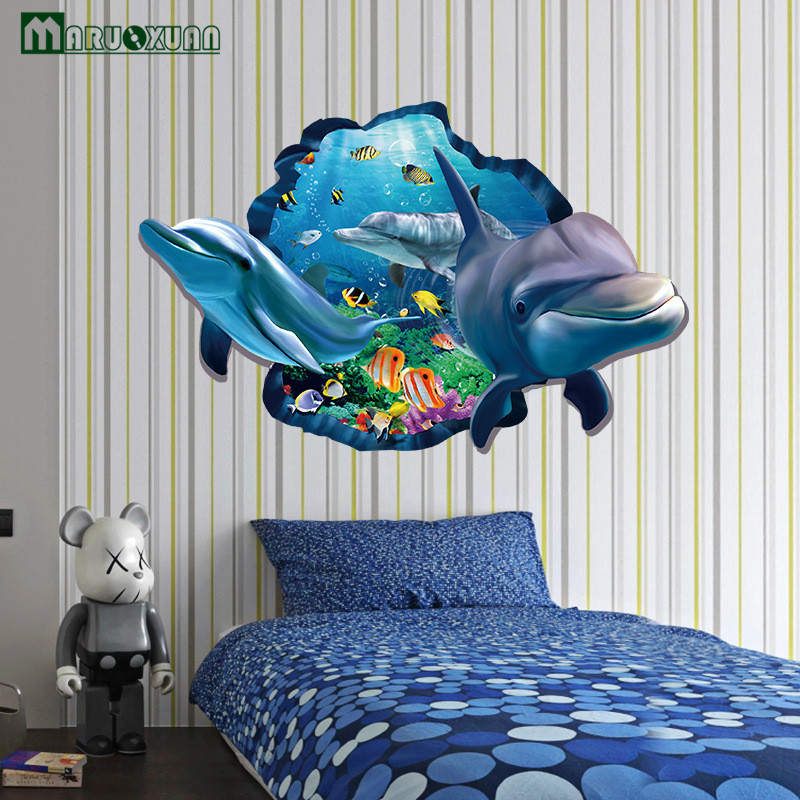 Charmant Maruoxuan 3d Dolphins Stickers Underwater World Living Room Bedroom Decor  Wall Stickers Sea Aquarium Dolphins Kids Room Poster In Wall Stickers From  Home ...
