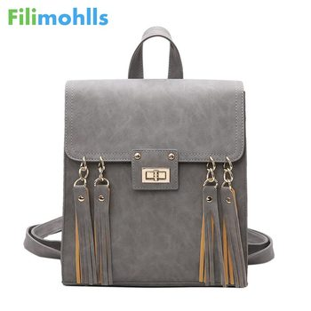 2019 New Tassel Women Backpack Black PU Leather School Backpack Women Backpacks For Teenage Girl School Bags S1725 Сумка