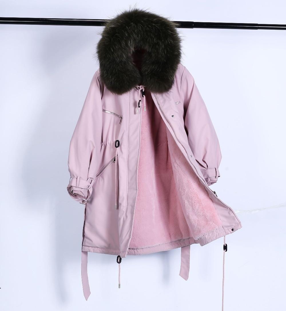 Large Natural Raccoon Fur Winter Jacket Women Hooded 19 Long Parkas For Female Thick Slim Down Winter Coat Women Waterproof 23
