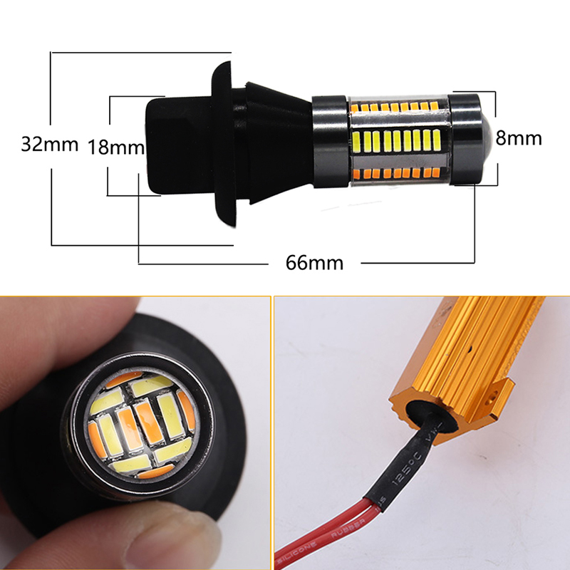12V Car LED Light 1156 BA15S BAU15S 66SMD Turn Signal Lamps T20 7440 Lamp Bulbs DRL Dual Color White Yellow Day Running Lights