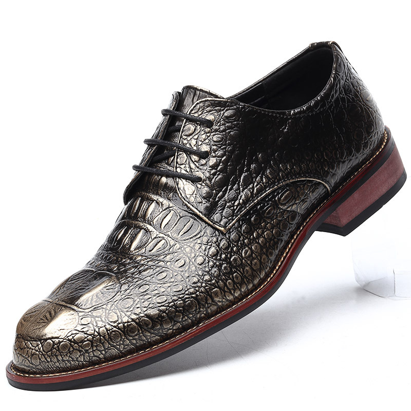 British Style Men 39 s Leather Shoes Classic Crocodile Leather Business Casual Men 39 s Oxford Shoes Comfortable Soft Flat Shoes Men 8 in Oxfords from Shoes