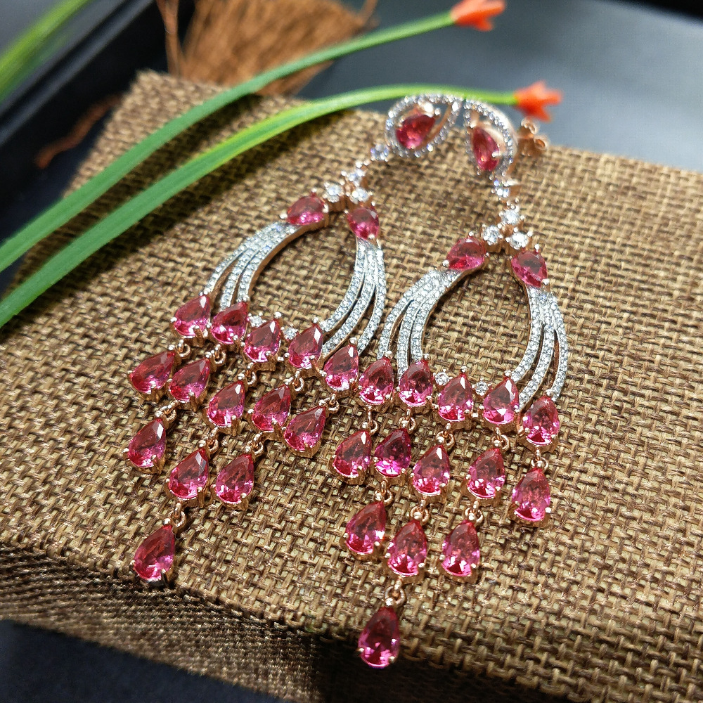 FLZB Big beautiful long earrings 925 sterling silver with good cubic zircon in rose gold plated