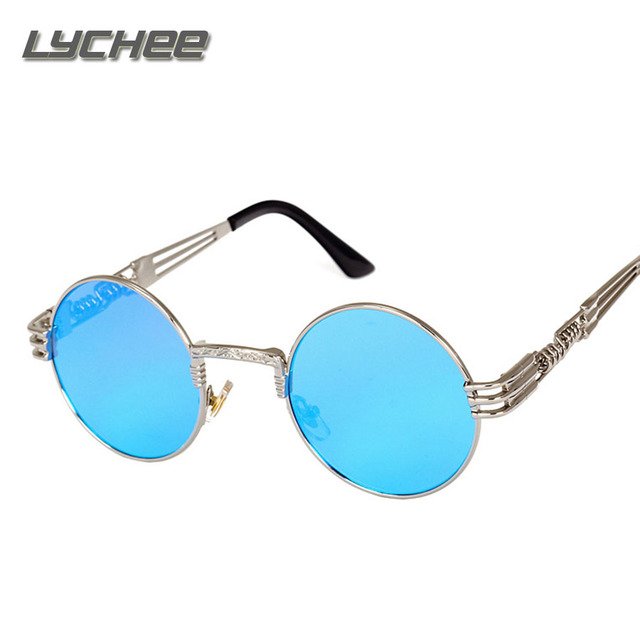 LYCHEE 2017 NEW Gothic Steampunk Sunglasses Men Women Metal Round Shades Brand Designer Sun glasses Mirror High Quality UV400