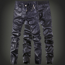 Fashion cool Punk rock trousers males Skinny tight fake leather-based pants Black Slim match Zippers Plus dimension 30 31 32 33 34
