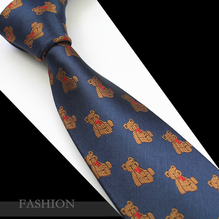 RBOCOTT Novelty Character Tie Little Bear Neck Tie Mens Silk Jacquard Tie Men 7cm Tower Necktie For Wedding Christmas Party Gift