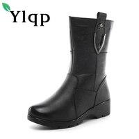 Ylqp 2017 Zima Europejska i Amerykańska Styl Kobiety Prawdziwej Skóry Buty Kobiet Przypadkowi Ciepłe Płaskie Buty Za Kostkę Buty Zapatos Mujer
