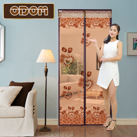 Wide Magnetic Stripe Rose Printed Sheer Door Curtain Anti Mosquito Net Insect Magic Mosquito Curtain