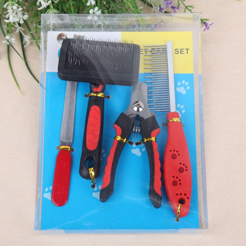 One Set Of Dog Comb With Nail clipper File For Pets Cats Grooming Fur Care Hair Removal Tool Dogs Brush Pet Supplies