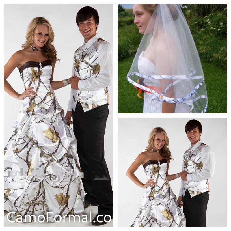 US $140.4 22% OFF|Sweetheart White Camo Wedding Dress Countryside  Camouflage Bridal Gowns 2019 Draped Skirt Custom Plus Size With Veil-in  Wedding ...