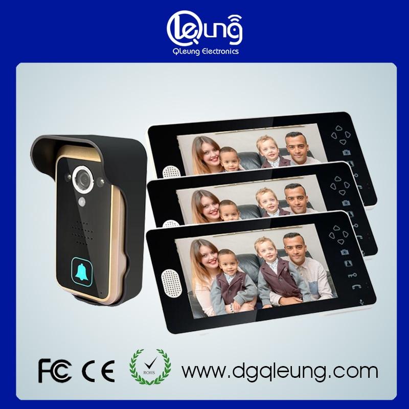 Fast Express 7 inch TFT 3 Monitors Home Wireless Video Door phone doorbell Intercom System Auto