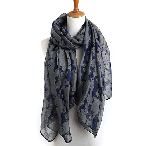 Women Spring Autumn Fashion Galloping Horses Print Voile Long   Scarf     Wrap   Shawl   scarves   lady pashmina beach stoles hijab foulard