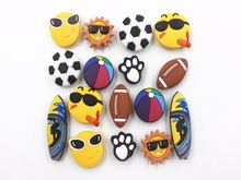 16 Pcs PVC Football basketball  Shoe accessories Shoe Charms Shoe Decorations  for Croc Bracelet Wristband Kid Gift