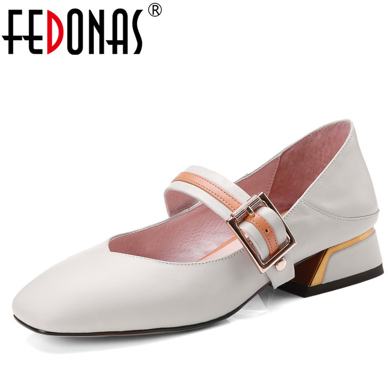 FEDONAS Women's High Heels Genuine Leather Shoes Fashion Square Toe Shoes For Women Mary Jane Black White Pumps New Shoes Woman цена