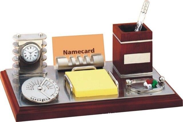 Factory Direct Mahogany Desk Calendar Metal Business Card Holder