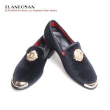 ELANROMAN New style Black velvet casual men shoes with Gold Buckle Mens velvet Loafers velvet shoes men Wedding Shoes men
