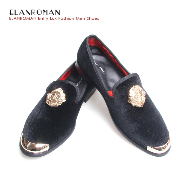 ELANROMAN New style Black velvet casual men shoes with Gold Buckle Mens velvet Loafers velvet shoes men Wedding Shoes men
