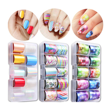 Beautiful 3 Styles Starry Sky Laser Nail Foil Set Blue Transparent Marble Holographic Nail Art Transfer Sticker Decoration DIY