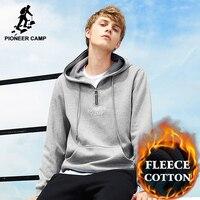 Pioneer Camp New Thicken Winter Hoodie Sweatshirt Men Brand Clothing Casual Warm Fleece Tracksuit Male Quality
