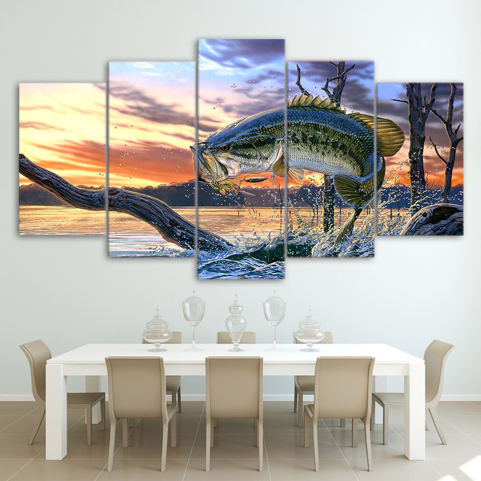 Modular Canvas Wall Art Pictures Home Decor Living Room Modern HD Prints Poster 5 Pieces Jumping Bass Fishing Painting Framework