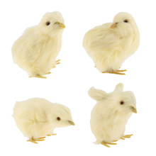Artificial Mini Plush Chicken Model Figurine Kids Teaching Toy Home Garden Decor Xmas Kids Birthday Gifts Yellow(China)