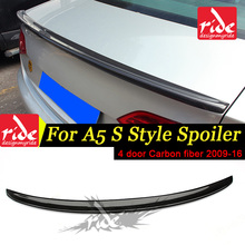 Fits For Audi A5 Rear Trunk Spoiler S Style A5Q 4-Doors Coupe Carbon Fiber Wing car styling 2009-2016