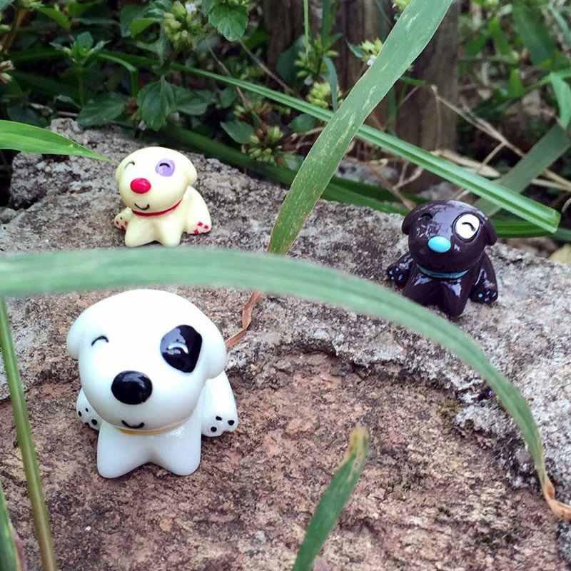 Anak Anjing Mini Hewan Ornamen Duduk Anjing Mainan Patung Miniatur Fairy Taman Patung Resin Kerajinan Rumah Mobil Ornamen Hadiah